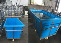Heavy Wet Or Dry Loads Poly Box Truck , Mobile Industrial Laundry Trolley On Wheels